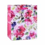 Saco de papel do presente cor-de-rosa do ornamento da roupa de forma do teste padrão de flor