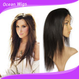 100% virgem humano Remy Hair Cabelo liso Full Lace Peruca