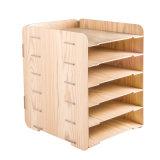 Diseño de fondo de escritorio de bricolaje Madera 6 capas de Rack de archivos