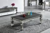 Mesa de centro superior de cristal de la base del acero inoxidable de los muebles modernos de la sala de estar