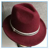 Lã de alta qualidade sentida o Fedora Man Hat com pequena borda