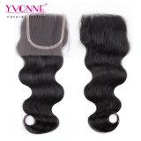O cabelo do brasileiro 3 da onda do corpo de Yvonne com fechamento livra a parte