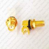 Коаксиловый разъем RF золотистого прямоугольного держателя доски PCB припоя разъема SMA женского Jack