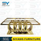 Tabella pranzante superiore di marmo di base metallica del ristorante stabilito della mobilia