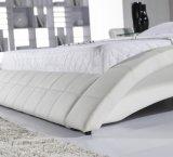 現代デザイン白革のベッド