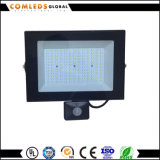 IP65 PIR LED 플러드 빛 Bridgelux 옥외 칩 호리호리한 선 투광램프 10W 20W 50W 80W 100W