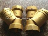 銅の青銅色ねじ糸端Yフィルターこし器