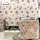 Mosaico hexagonal de la impresión de inyección de tinta marrón de vidrio de pared de azulejos de mosaico