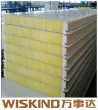 Matériau de construction panneau sandwich en laine de verre pour le bâtiment en acier