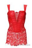 Un corsé más pechugón del cuero gótico del Faux de Steampunk de las mujeres con la falda del cordón