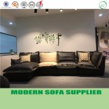Moderner Entwerfer L Form-Leder und Gewebe-Freizeit-Sofa