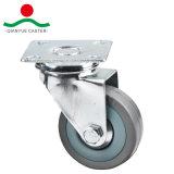 Le trou de boulon caoutchouc gris de frein de roulette légers