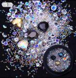 混合されたAbカラーラインストーンの多彩なビードのDIYの釘のための鋭い底3D指の爪の装飾のマニキュアの釘の芸術
