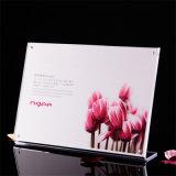Support acrylique clair T-Shaped personnalisé de signe de la taille 8.5X11
