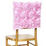 格好良いトルコ石カラーサテンのロゼットの椅子カバーChiavariの椅子の帽子のフード