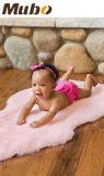 Couverture rose de région de bébé de laines de Lambskin de couleur