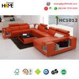 Chinesische moderne Möbel-Schnittwohnzimmer-Freizeit-Leder-Sofa (HC1012)