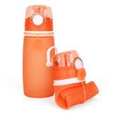 Fles 550ml van het Water van het Silicone van vijf Kleuren BPA de Vrije Opvouwbare