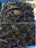 Schwarze Polyester-Schwarzes PU-Palmen-überzogenes statisches Arbeits-Handschuh-Anticer genehmigt