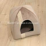 베이지색 애완 동물 침대 감금소 고양이 집 침대 편리한 폴리에스테 애완 동물 침대 개와 고양이 집 현대 애완 동물 침대