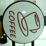 La publicité de l'écran de soie ronde Wall Hanging acrylique Coffee Shop Boîte à lumière