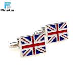 간단한 대량 디자인 영국 깃발 스테인리스 커프스 단추