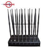 Portátil de alta potencia de 3G LTE 4G celular Jammer, gran área de telefonía móvil celular Jammer Control remoto 16 antenas
