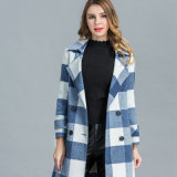 Nouveau modèle de treillis bleu long manteau d'hiver en laine pour les femmes