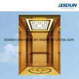 450kg de acero inoxidable espejo elevador de pasajeros con pasamanos