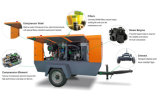 Compresor de aire móvil \ portable diesel del tornillo con los depósitos de gasolina