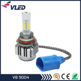 LED Headlight V8 9004 COB Chips Bombas de cabeça de carro de alumínio