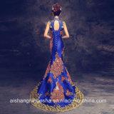 Robes de soirée de paon de queue de poisson de sirène de collier élevé de robes nuptiales longues