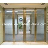 Cor dourada interior acabamento espelhado porta de entrada de vidro de Aço Inoxidável