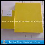 Pedra artificial de quartzo do amarelo puro da cor para a parte superior da cozinha