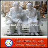 Estatua de granito tallado en granito con los abuelos escultura