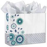 Мешок серебристой шикарной хозяйственной сумки бумаги искусствоа покупателей цветастой изготовленный на заказ бумажный