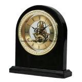 Acabado en negro piano reloj esqueleto con Diamond Studded Ring