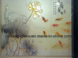 o ácido desobstruído Dedo-Livre do vidro geado de 3-12mm/teste padrão gravou vidro de vidro/decorativo da arte