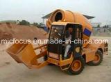 individu 3m3 chargeant le camion de mélangeur concret