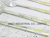 Couverts réglés de cuillère de fourche de couteau d'acier inoxydable de vaisselle de Golen-Placage