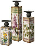 S/3 Primavera Bird Vintage Design de mobiliário em madeira MDF/adesivo de papel metálica quadrada do suporte para velas