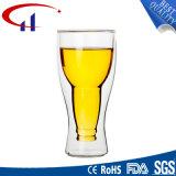 Чашка пива оптовой Handmade двойной стены стеклянная (CHT8607)