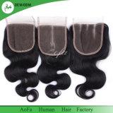 Chiusura superiore brasiliana 100% del merletto dei capelli 4X4 dei capelli umani di qualità