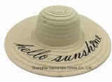 Paper Straw Hat with Wide Brim Wtih Printed Logo (Sh051)