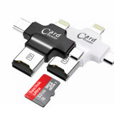 Tipo C Lightning USB Microusb 4 em 1 Multi-Use Microsd Card Reader para iPhone Android Phone