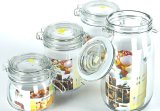 Stylish Clip 5 Sets Glass Storage Jar Kitchen Sweet Containers