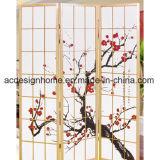 Lo schermo dello Shoji delle 3 sezioni & i divisori pieganti di legno di vendita caldi in fiore della prugna stampano lo stile giapponese cinese