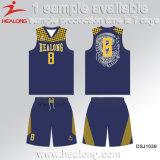 Uniformi europee di pallacanestro di disegno di modo di formato della stampa di sublimazione di Healong