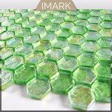 Hexagonal verde mosaico de vidrio para la piscina mosaico