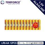 trockene alkalische hauptsächlichbatterie 1.5volt (LR6/AM-3/AA) mit Ce/ISO 12PCS/Pack 5 Jahre Lagerbeständigkeits-